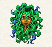 Tentacle Hair Lady- green Pullover