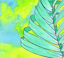 Abstract Palm Leaf - Spearmint by sweetblissart