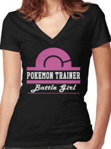 Pokemon Trainer - Battle Girl Women's Fitted V-Neck T-Shirt
