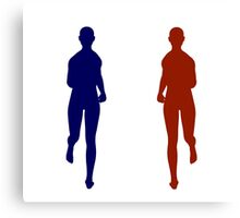 Twin Runners Jogging Silhouette Canvas Print