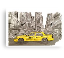 NYC - Times Square - Hand Drawn - Taxi - Cab Canvas Print