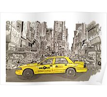 NYC - Times Square - Hand Drawn - Taxi - Cab Poster