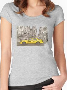 NYC - Times Square - Hand Drawn - Taxi - Cab Women's Fitted Scoop T-Shirt