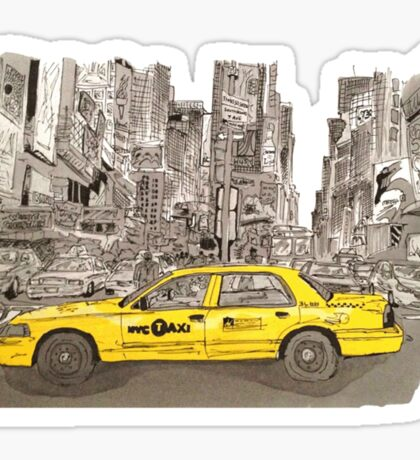 NYC - Times Square - Hand Drawn - Taxi - Cab Sticker