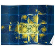 Blue Tiled Escher Poster