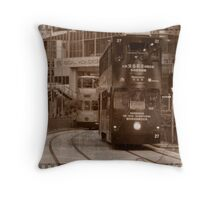City Tram in Hong Kong Throw Pillow