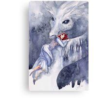 White Dragon Rider Canvas Print