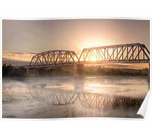 Sunrise over the Mist - Murray Bridge Railway Bridge, South Australia Poster