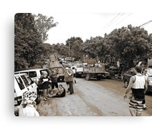 Brisbane Floods 2011 - Clean Up - The Troops Assemble (B&W - Sepia) Canvas Print