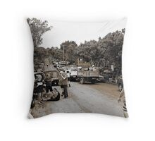 Brisbane Floods 2011 - Clean Up - The Troops Assemble (B&W - Sepia) Throw Pillow