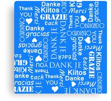Thank You in Lots of Different European Languages Canvas Print