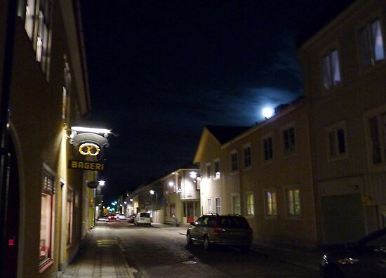 Full Moon above the Queen Street of Alingsås by HELUA