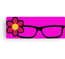 Geek Girl Black Glasses Pretty Colourful Flower Canvas Print
