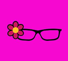 Geek Girl Black Glasses Pretty Colourful Flower by CreativeTwins
