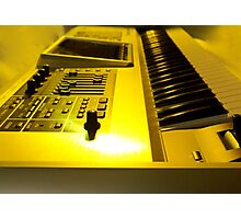 Roland Keyboard With Yellow Light Photographic Print