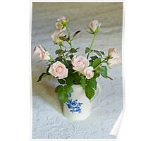Pink roses in blue and white jug Poster