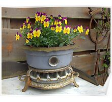 Violets in an old oil stove. Poster