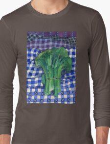 Broccoli and Gingham Long Sleeve T-Shirt