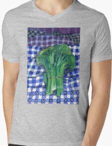 Broccoli and Gingham Mens V-Neck T-Shirt