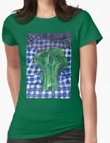 Broccoli and Gingham Womens Fitted T-Shirt