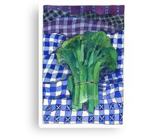 Broccoli and Gingham Canvas Print