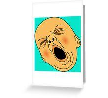 Yawning Baby Bald Man Bored at Work Greeting Card