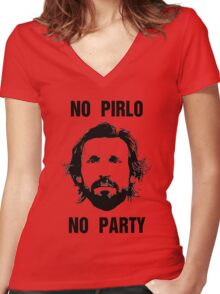 No Pirlo No Party Women's Fitted V-Neck T-Shirt