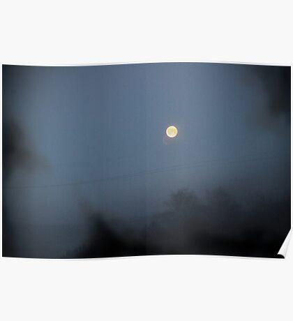 Moon Black Smoke Wire Poster
