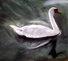 White Swan Oil Painting by Masaad Amoodi