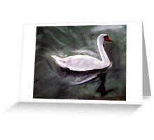 White Swan Oil Painting Greeting Card