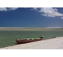 Red Boat Ocean Scene Photographic Print
