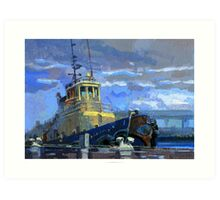 Tug boat in the rain Art Print