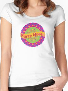 Ethnic Print Curry Queen Spicy Curries Food Addict Women's Fitted Scoop T-Shirt