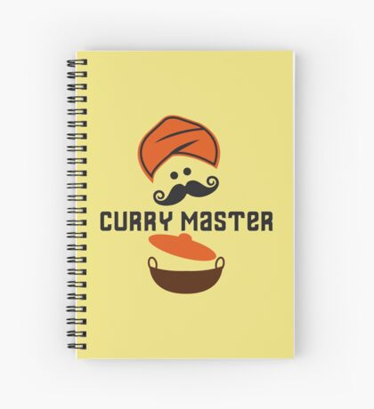 Funny Curry Master Indian Restaurant Chef Turban and Moustache Spiral Notebook