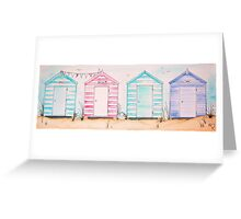 Fun at 593 Pastel Striped Wooden Beach Huts Greeting Card