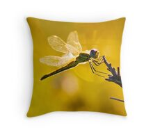 Yellow Striped Hunter Dragonfly Throw Pillow