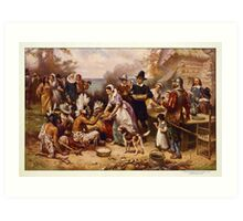 The First Thanksgiving 1621 by Jean Leon Gerome Ferris Art Print