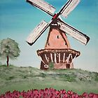 Dutch windmill & Tulips by Louise Griffiths