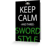 one piece keep calm and three sword style anime manga shirt Greeting Card