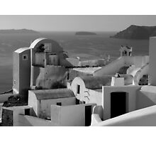 Houses by the Caldera ~ Black & White Photographic Print