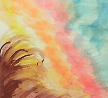 Sunrise With a Twist, on Hill , watercolor by Anna  Lewis, blind artist