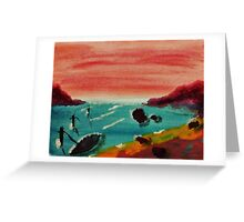 Boat Tied Up in Cove, watercolor Greeting Card
