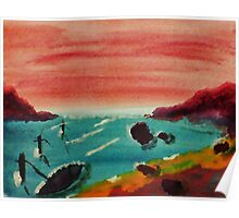 Boat Tied Up in Cove, watercolor Poster