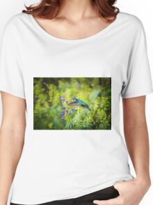 My Secret Garden, Green Violet Eared Hummingbird. Women's Relaxed Fit T-Shirt