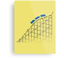 I'm On a Roller Coaster That Only Goes Up (Blue Cars) Metal Print