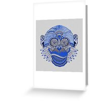 MONKEY COLLECTION BLUE INDIE FEATHER Greeting Card