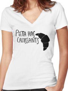 The Baker Has Croissants (Black Design) Women's Fitted V-Neck T-Shirt