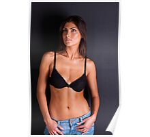 Attractive woman in jeans and bra Poster