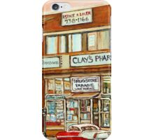 BROWN DERBY JEWISH DELICATESSEN MONTREAL MEMORIES VINTAGE VAN HORNE SHOPPING CENTER PAINTINGS JEWISH ART iPhone Case/Skin