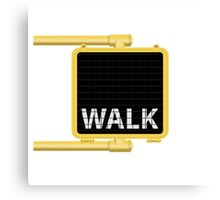 New York Crosswalk Sign Walk Canvas Print
